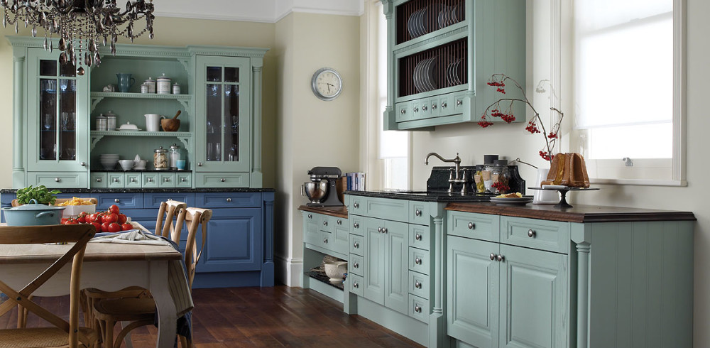 classic-kitchen-with-blue-antique-wooden-cabinet
