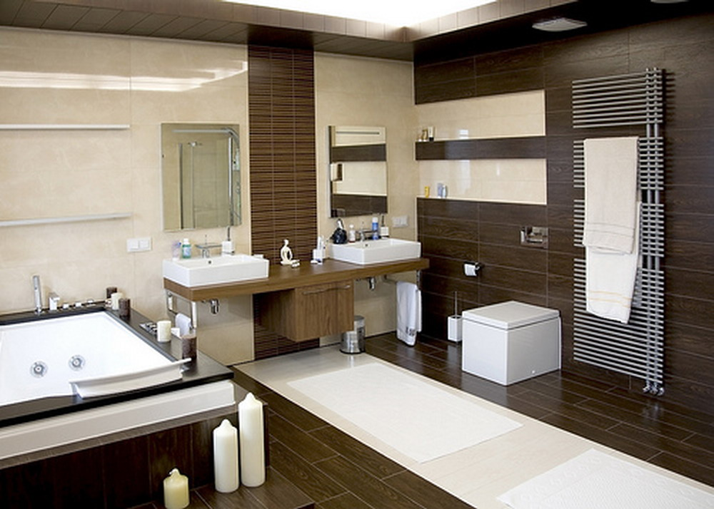 Wood floors tile linoleum jmarvinhandyman for Dark wood bathroom designs