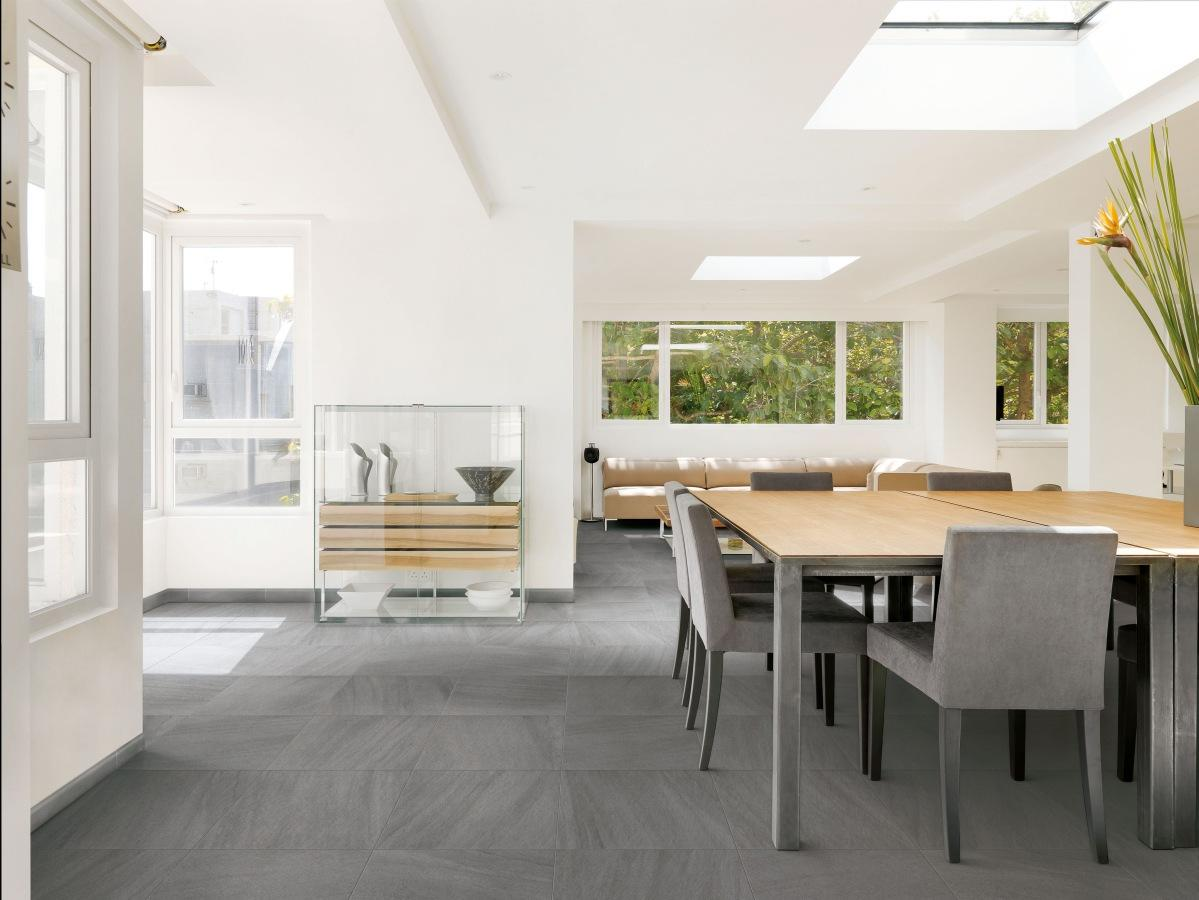 Tiles Floor In The Minimalist Dining Room Trendy
